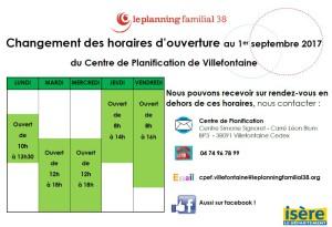 Horaires 2017 Planning familial Satolas-et-Bonce