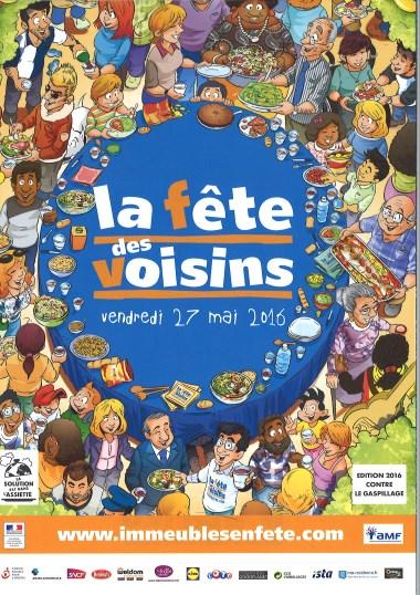 Affiche face avant Fête des voisins mai 2016 Satolas-et-Bonce