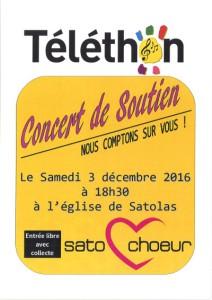 Concert soutien Téléthon 3 décembre 2016 Sato Choeur