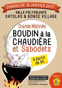 Poster Matinée Boudins et Sabodets 15 janvier 2017 Satolas-et-Bonce