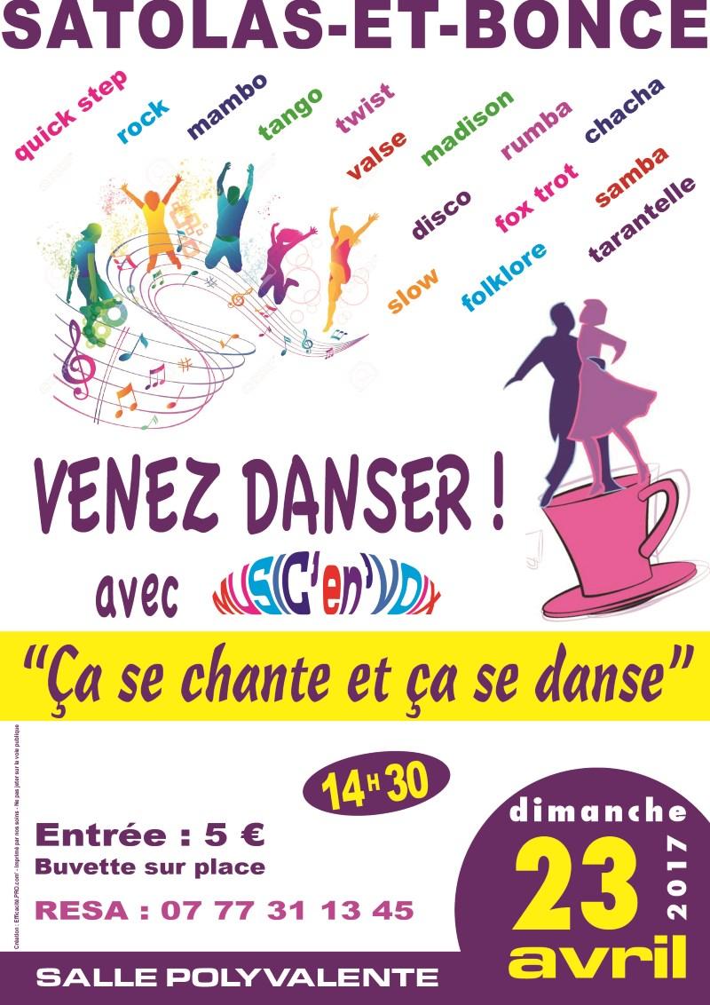 Association Music en Voix Poster soirée dansante 23 avril 2017