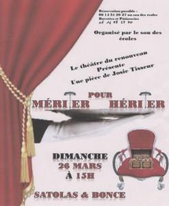 Poster Pièce de théâtre Mériter pour Hériter