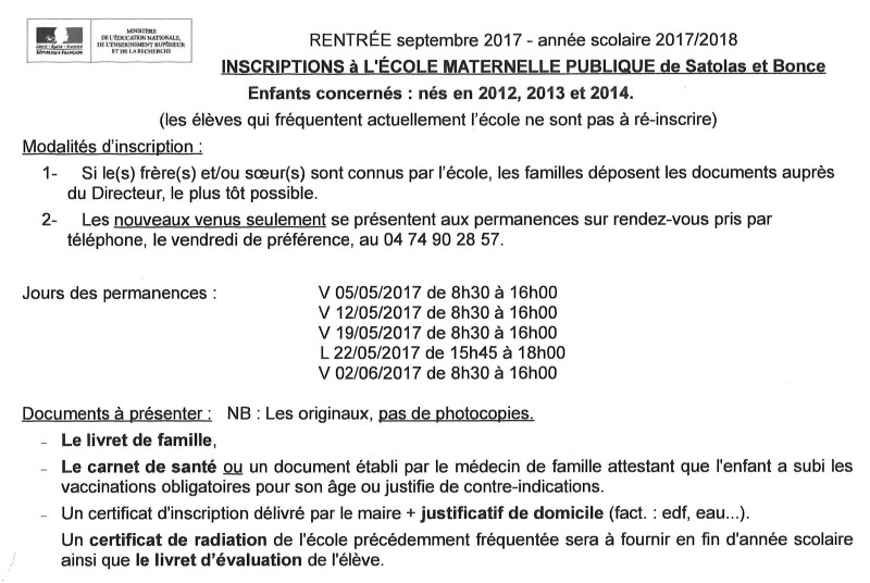 Détail inscription école maternelle septembre 2017