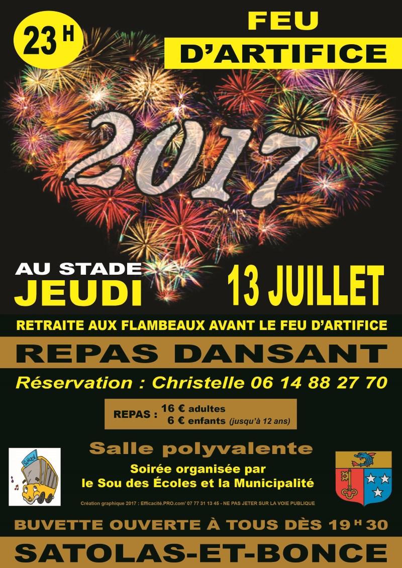 Affiche Feu d'artifice Satolas-et-Bonce juillet 2017