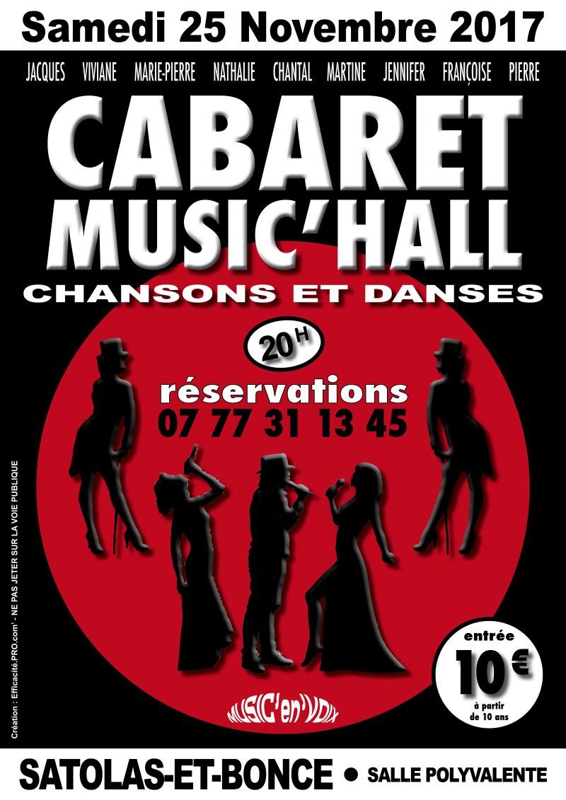 Association Music en Voix Poster Soirée Cabaret 25 novembre 2017