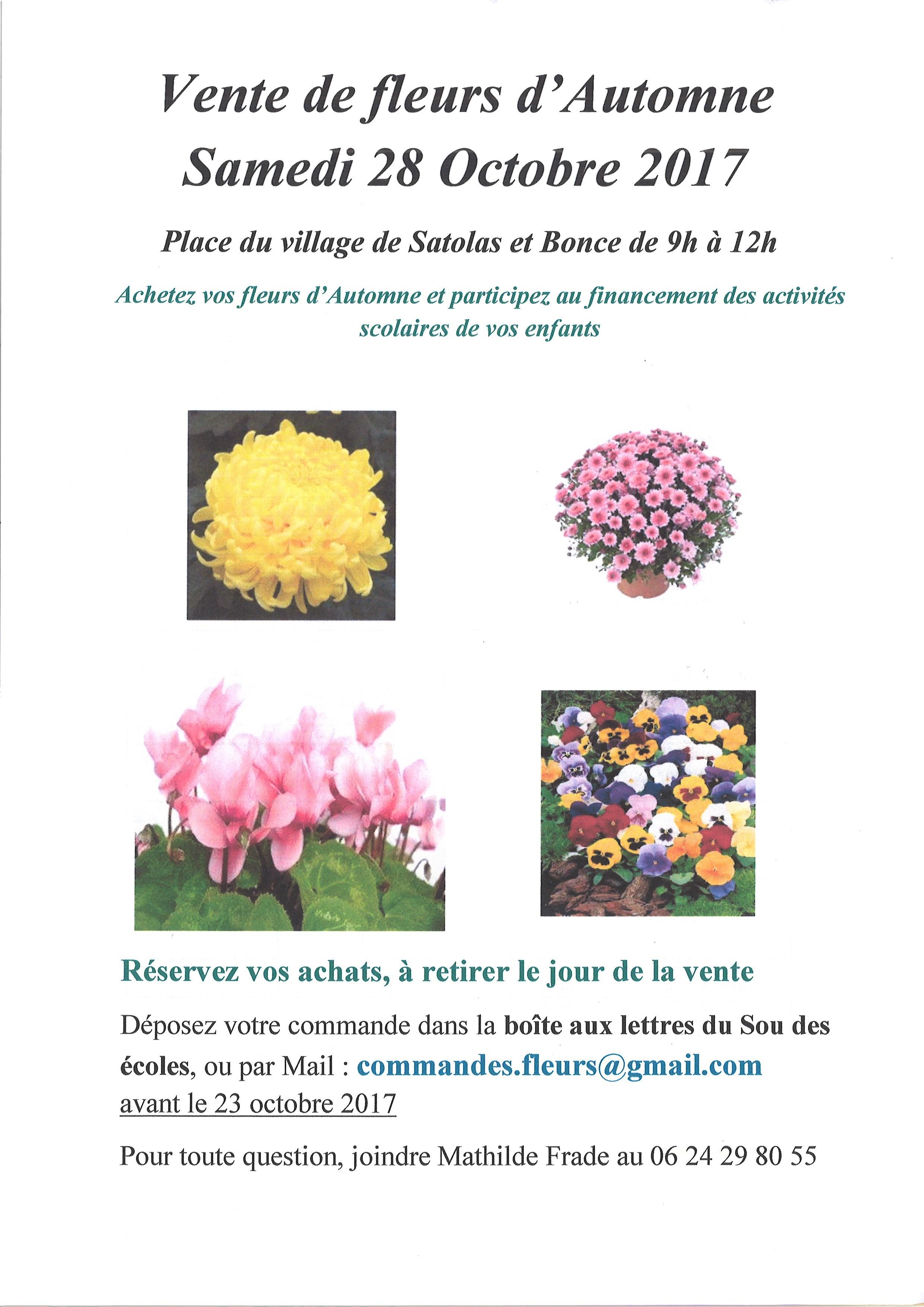 Vente de fleurs d'automne 2017