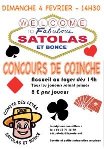 Poster Tournoi de Coinche association Comité des Fêtes 4 février 2018