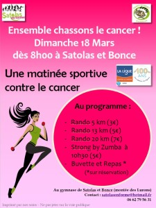 Association Satolas en Forme Chassons le cancer mars 2018