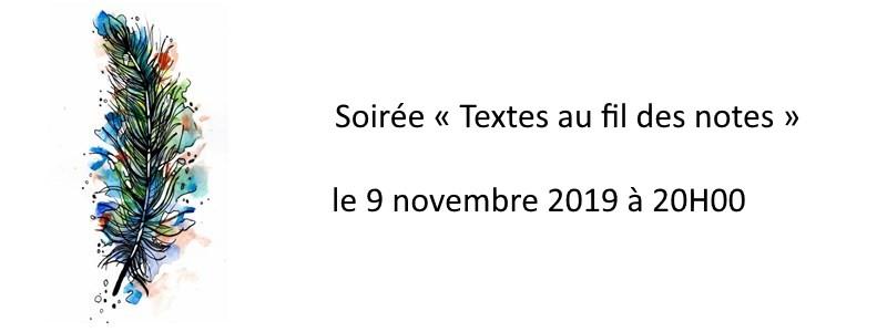 Soirée « Textes au fil des notes » le 9 novembre 2019