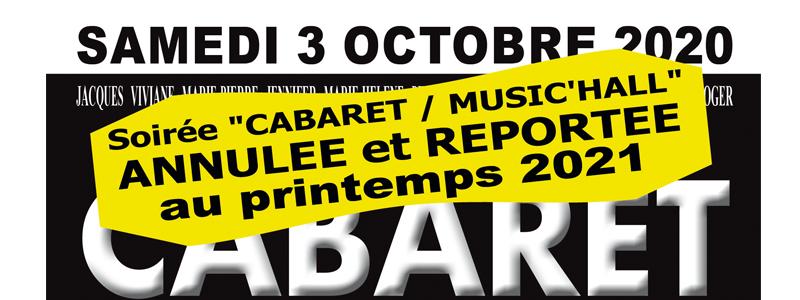 Annulé : spectacle cabaret du 03 octobre